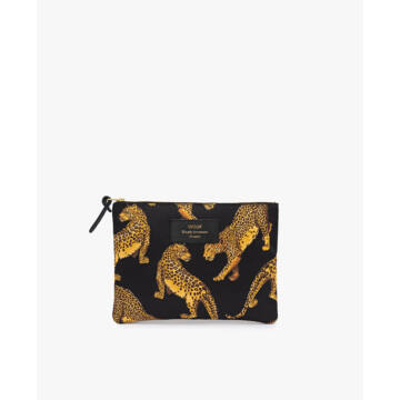 Wouf Large Pouch Pipere Black Leopard