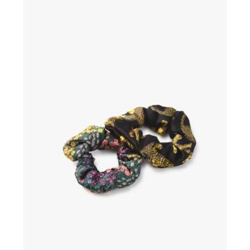 Wouf Scrunchies - Meadow & Black Leopard