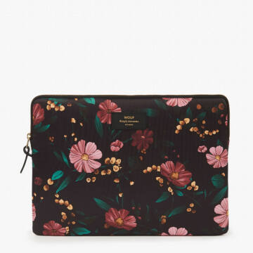 "Wouf Laptop Sleeve 13"" Black Flowers"