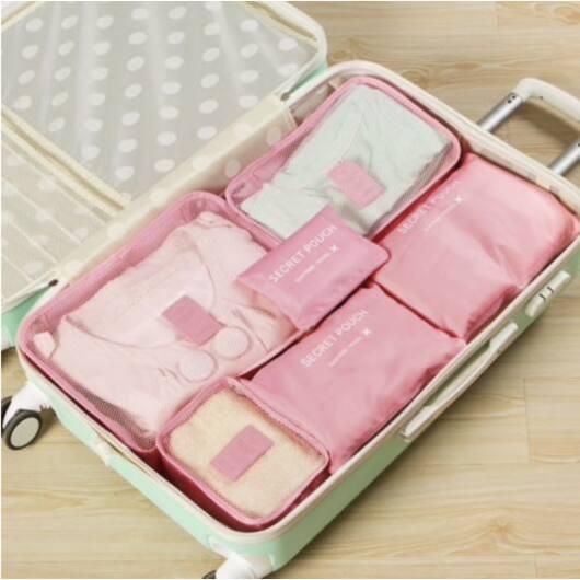 Bőrönd Rendszerező 6db-os Rózsaszín